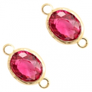 Crystal glas tussenstukken 8x10mm Indian pink crystal-gold