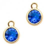 Hanger van crystal glas rond 6mm Cobalt blue crystal-gold