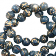 Schelp kralen 6 mm rond goldline Dark blue