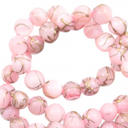 Schelp kralen 6 mm rond goldline Light pink