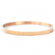 "Armbanden van Stainless steel Roestvrij staal (RVS) ""LOVE LIFE AND ENJOY EVERY MOMENT"" Rosé goud"