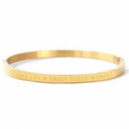 "Armbanden van Stainless steel Roestvrij staal (RVS) ""LOVE LIFE AND ENJOY EVERY MOMENT"" Gold"