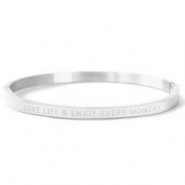 "Armbanden van Stainless steel Roestvrij staal (RVS) ""LOVE LIFE AND ENJOY EVERY MOMENT"" Silver"