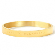 "Armbanden van Stainless steel Roestvrij staal (RVS) ""I LOVE YOU TO THE MOON AND BACK"" Gold"