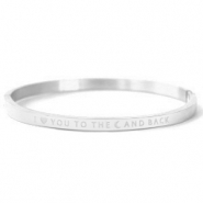 "Armbanden van Stainless steel Roestvrij staal (RVS) ""I LOVE YOU TO THE MOON AND BACK"" Silver"