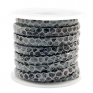 Gestikt imi leer 6x4 mm snake Anthracite grey