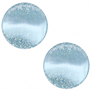 12 mm platte Polaris Elements cabochon Stardust Sky blue