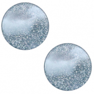 12 mm platte Polaris Elements cabochon Stardust Powder blue