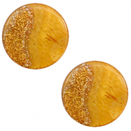 12 mm platte Polaris Elements cabochon Stardust Caramel yellow