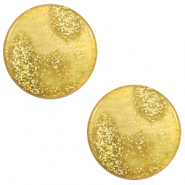 12 mm platte Polaris Elements cabochon Stardust Gold-mineral yellow