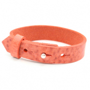 Armbanden Cuoio leer 15 mm voor 20 mm cabochon Living coral red