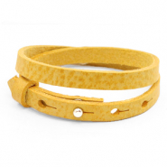 Armbanden Cuoio leer 8 mm dubbel voor 12 mm cabochon Mineral yellow