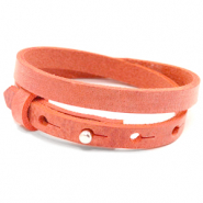 Armbanden Cuoio leer 8 mm dubbel voor 12 mm cabochon Living coral red