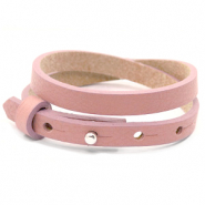 Armbanden Cuoio leer 8 mm dubbel voor 12 mm cabochon Rose dawn pink