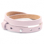 Armbanden Cuoio leer 8 mm dubbel voor 12 mm cabochon Light orchid pink