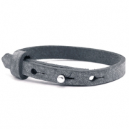 Cuoio armband voor kids 8mm voor 12mm cabochon Anthracite black