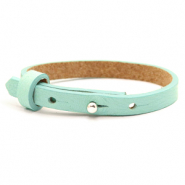 Cuoio armband voor kids 8mm voor 12mm cabochon Bleached aqua blue