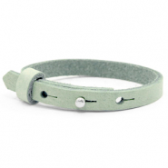 Cuoio armband voor kids 8mm voor 12mm cabochon Meadow green
