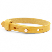Cuoio armband voor kids 8mm voor 12mm cabochon Mineral yellow