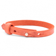 Cuoio armband voor kids 8mm voor 12mm cabochon Living coral red