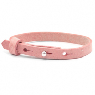 Cuoio armband voor kids 8mm voor 12mm cabochon Pressed rose red