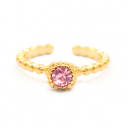 Trendy ringen dots with one stone Goud-rose (nikkelvrij)