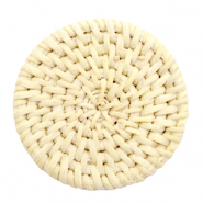 Geweven rotan hangers rond 45mm Naturel beige