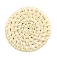 Geweven rotan hangers rond 40mm Naturel beige