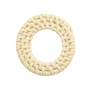 Geweven rotan hangers rond 30mm Naturel beige
