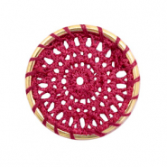 Gehaakte hangers rond 33mm Gold-port red