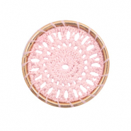 Gehaakte hangers rond 33mm Gold-light pink