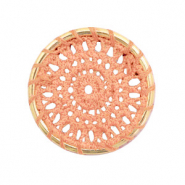 Gehaakte hangers rond 33mm Gold-peachy orange
