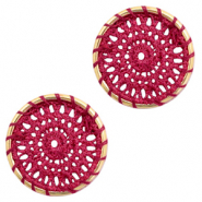 Gehaakte hangers rond 22mm Gold-port red