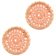 Gehaakte hangers rond 22mm Gold-peachy orange