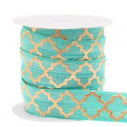 Elastisch lint Moroccan pattern Turquoise-gold