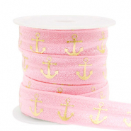 Elastich lint anchor Vintage pink-gold
