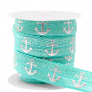 Elastich lint anchor Turquoise-silver