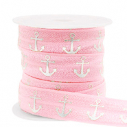 Elastich lint anchor Vintage pink-silver