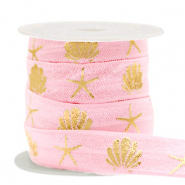 Elastisch lint shell/sea star Vintage pink-gold