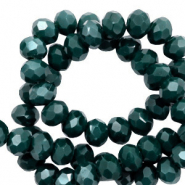 Facet kralen top quality disc 4x3 mm Deep green-pearl shine coating
