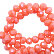 Facet kralen top quality disc 6x4 mm Tigerlily coral red-pearl shine coating