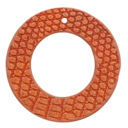 Hangers imi leer rond crocodile Coral red