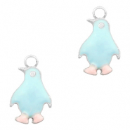 Basic quality metaal bedel pinguïn Zilver-Light blue pink