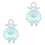 Basic quality metaal bedel schaap Zilver-Light blue