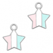 Basic quality metaal bedel ster Zilver-Light blue white pink
