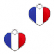 Basic quality metaal bedel hart Zilver-Red white blue