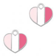 Basic quality metaal bedel hart Zilver-Fuchsia white pink