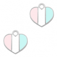 Basic quality metaal bedel hart Zilver-Light blue white pink