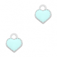 Basic quality metaal bedel hart Zilver-Light blue