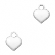 Basic quality metaal bedel hart Zilver-White